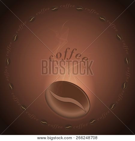 Vector Coffee Bean With Smoke Illuminated By Light