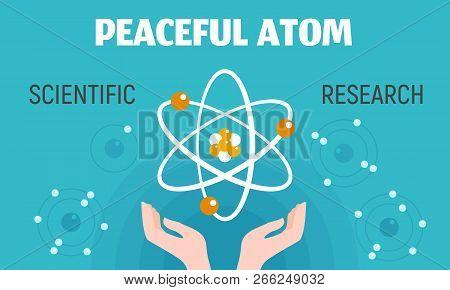 Peaceful Atom Concept Banner. Flat Illustration Of Peaceful Atom Vector Concept Banner For Web Desig