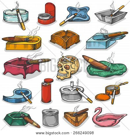 Ashtray Vector Ash-tray Or Ash-pot With Smoking Cigarette Ashes Illustration Unhealthy Smoke Nicotin