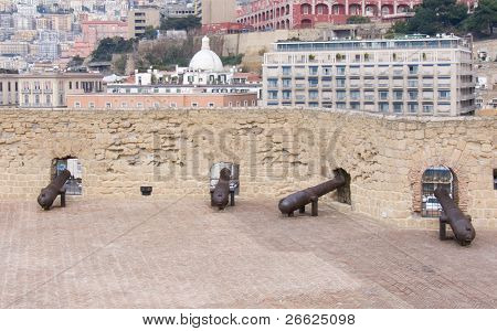 old battery of cannons castle dell'Ovo to Naples