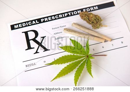 Cannabis background with leaf, pre rolls and cannabis nug over medical prescription sheet isolated on white - medical marijuana concept