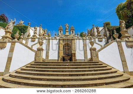 Sanctuarybom Jesus Do Monte, Pilgrimage Site In Northern Portugal, Tenoes In Braga. Fountain On A Mo