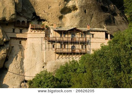 monastery on side of rock of Meteora, Greece