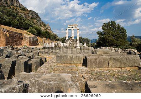 Tholos of temples circular of Sanctuary of Athena Pronaia of oracle delphic, Greece