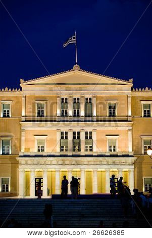the parliament greek in the square Syntagma of Athens by night