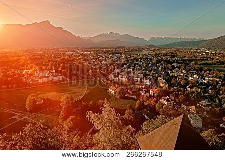 Beautiful Sunset Aerial View On Salzburg, Austria, Europe. City In Alps Of Mozart Birth. Panoramic V