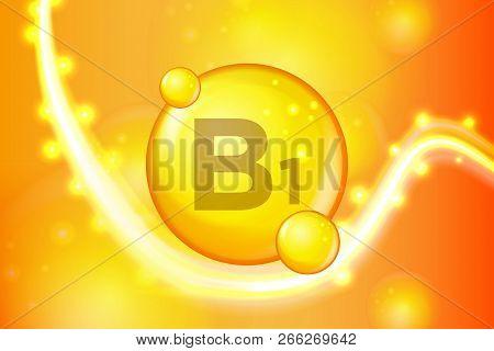 Vitamin B1 Gold Shining Pill Capsule Icon . Vitamin Complex With Chemical Formula. Shine Gold Sparkl