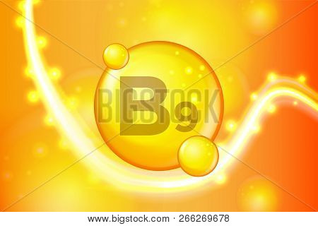 Vitamin B9 Gold Shining Pill Capsule Icon . Vitamin Complex With Chemical Formula. Shine Gold Sparkl