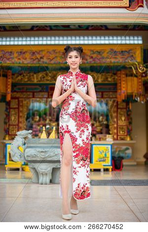 Asian Young Woman Wearing Chinese Dress, Smile In Chinese New Year, Chinese Woman Dress Traditional