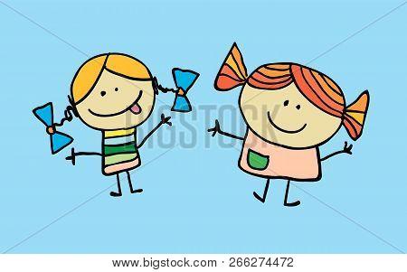 Two Little Cartoon Girls Have Got A Friendship. T-shirt Graphic. Cartoon Character.