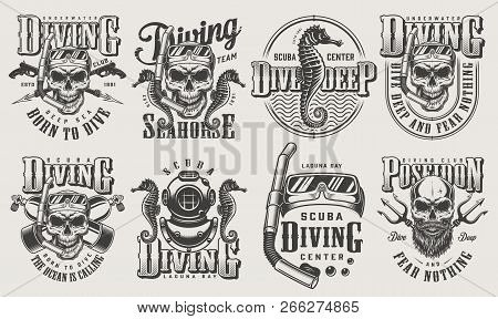 Vintage Monochrome Diving Logos Set With Skull In Scuba Mask Snorkel Oxygen Balloons Spear Gun Diver