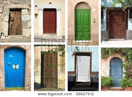 selection of many types of closed doors entrances
