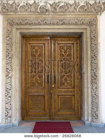 carved wooden door in Patriarchal cathedral of Bucharest, Romania