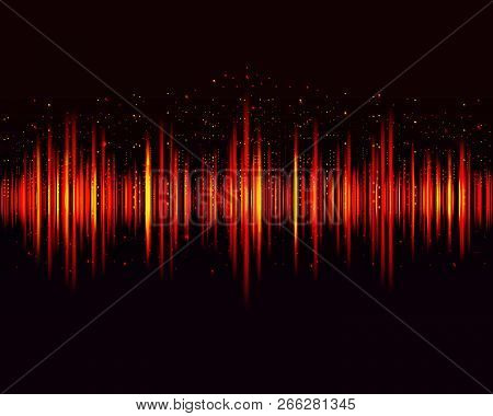 Vector Digital Music Equalizer, Audio Waves Design Template Audio Signal Visualization On Dark Backg
