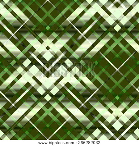 Plaid Pattern In Shades Of Green. Seamless Fabric Texture.