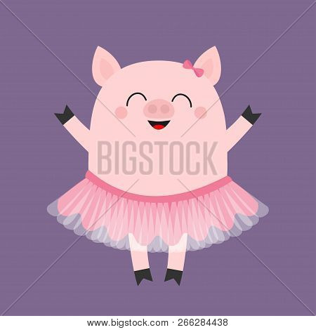 Pig Bellerina. Piggy Piglet Ballet Dancer Dressed In Pink Skirt. Tutu Dress. Cute Cartoon Funny Baby