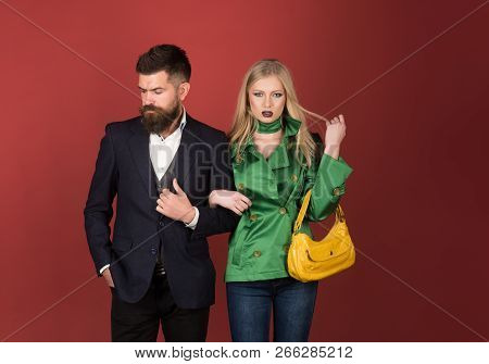 Stylish And Confident. Fashion Couple Of Sexy Woman And Bearded Man. Love Relations. Autumn Fashion