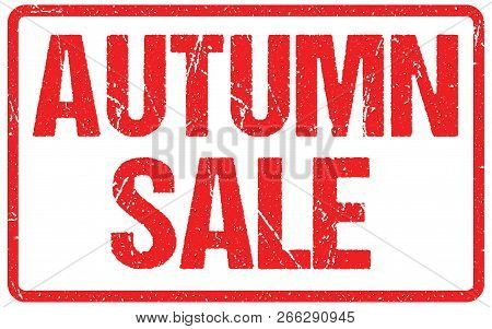 Autumn Sale Typography Isolated On White. Rubber Stamp Imitation