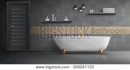 Vector Realistic Mockup Of Bathroom Interior With Big White Ceramic Bathtub, Golden Metal Tap, Tiled