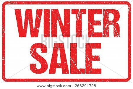 Winter Sale Typography Isolated On White. Rubber Stamp Imitation