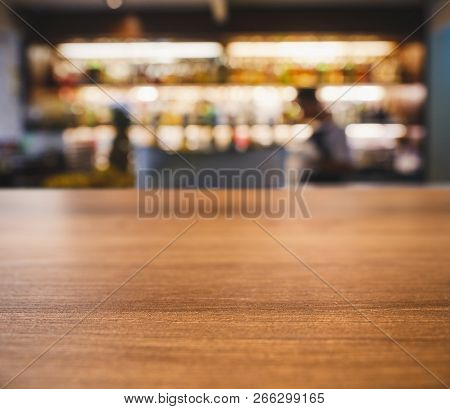 Table Top Counter Blur People In Bar Cafe Restaurant Interior Background