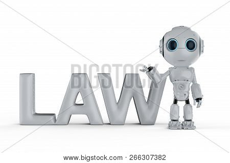 Cyber Law Concept With 3d Rendering Mini Robot With Law Text