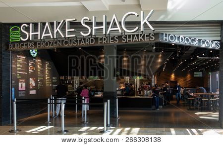 Scottsdale,Az/USA - 10.30.18:  Shake Shack (NYSE: SHAK) is an American fast casual restaurant chain based in New York City. It started out as a hot dog cart inside Madison Square Park in 2001.