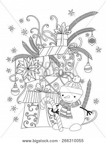 Christmas Coloring Page For Kids And Adults. Cute Snowman With Scarf And Knitted Cap. Pile Of Holida