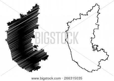 Karnataka (states And Union Territories Of India, Federated States, Republic Of India) Map Vector Il