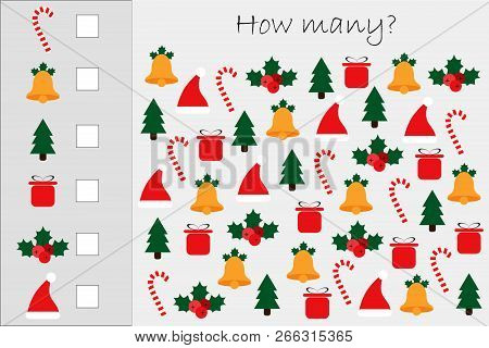 How Many Counting Game With Xmas Pictures For Kids, Educational Maths Task For The Development Of Lo