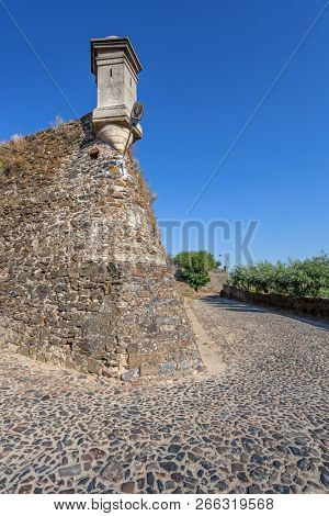 Sentry Box built on the wall of Forte de Sao Roque Fort with walls and defenses built against artillery fire. Castelo de Vide, Portalegre, Alto Alentejo, Portugal
