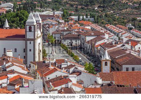 Santa Maria da Devesa Church and Dom Pedro Square seen from Castle Tower. Castelo de Vide, Alto Alentejo, Portugal