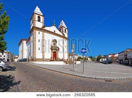 Igreja de Santa Maria da Devesa Church, the mother church of Castelo de Vide and Dom Pedro V square, Alto Alentejo, Portugal