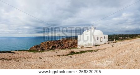 Ermida da Memoria or Memory Hermitage in the Nossa Senhora do Cabo or Pedra Mua Sanctuary. Espichel Cape and Atlantic Ocean. Sesimbra, Portugal
