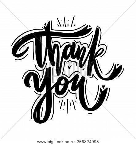 Thank You Hand Drawn Vector Lettering. Thank You Card. Vector Illustration. Modern Brush Calligraphy