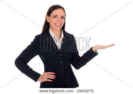 Businesswoman Introducing Something