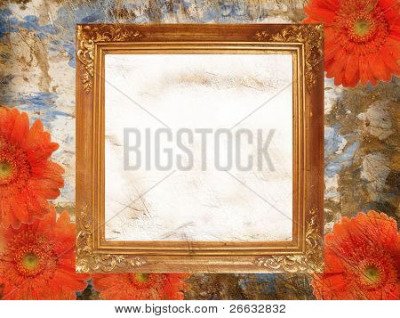 Retro gerbera background with golden frame
