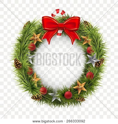 Round Christmas Wreath Isolated On Transparent Background. Spruce Wreath With Golden Stars, Xmas Bal