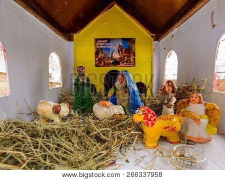 Uzhgorod, Ukraine - Jan 15, 2017: Birth Of Christ Bible Scene Made Of Dolls. Location Old Village