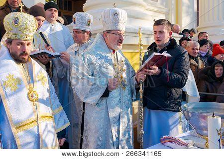 Uzhgorod, Ukraine - January 19, 2017: Ceremony Greek-catholic Church During Celebration Of The Epiph