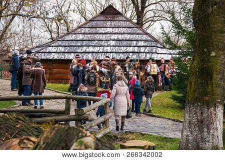 Uzhgorod, Ukraine - Jan 13, 2018: Vasylya Festival Celebrating In Transcarpathia. Tourists And Local