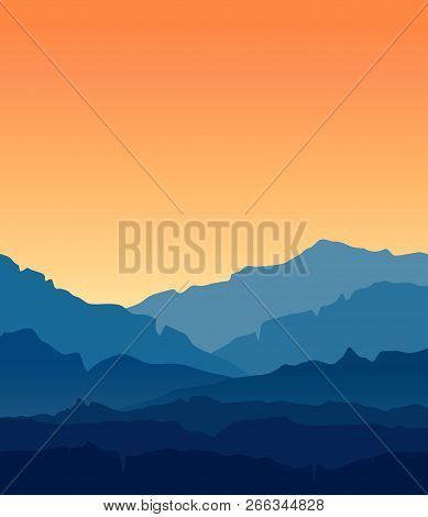 Vector Landscape With Blue Silhouettes Of Mountains And Hills With Beautiful Orange Evening Sky. Mou