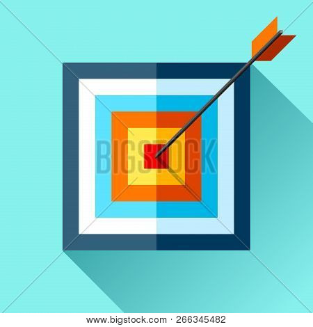 Volume Squre Target Icon In Flat Style On Color Background. Arrow In The Center Aim. Vector Design E
