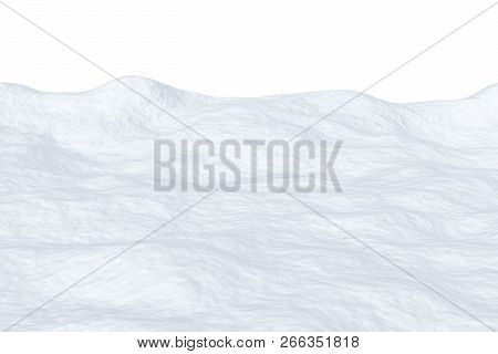 White Snowfield With Snow Hills Isolated On White Background, 3d Illustration