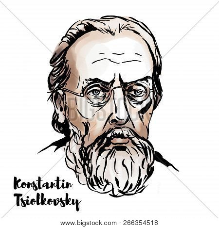 Moscow, Russia - Oktober 24, 2018: Konstantin Tsiolkovsky Watercolor Vector Portrait With Ink Contou