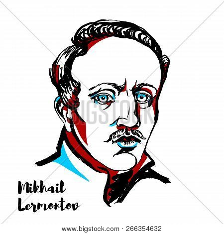 Mikhail Lermontov Engraved Vector Portrait With Ink Contours. Russian Romantic Writer, Poet And Pain