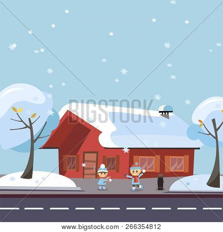 Flat Vector Winter Scene Children Playing Snowball Fights. Happy Kids Boy And Girl Playing Snowball