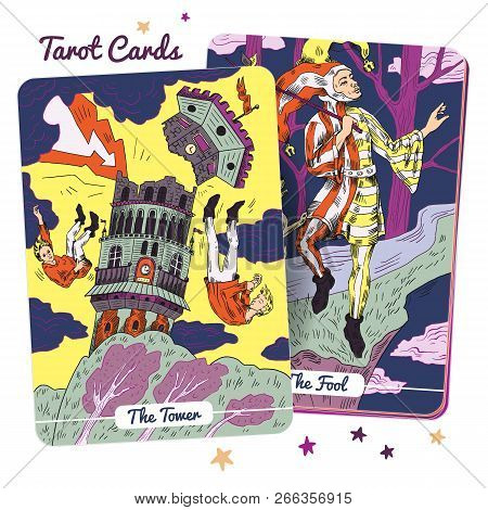Tarot Card Major Arcana  - The Tower And The Fool. Hand Drawn Vector Illustration In Engraved Style.