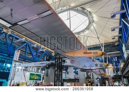 Exhibition Of The Famous Solar Impulse Hb-sia Electric Aircraft During The Science Fair 2018