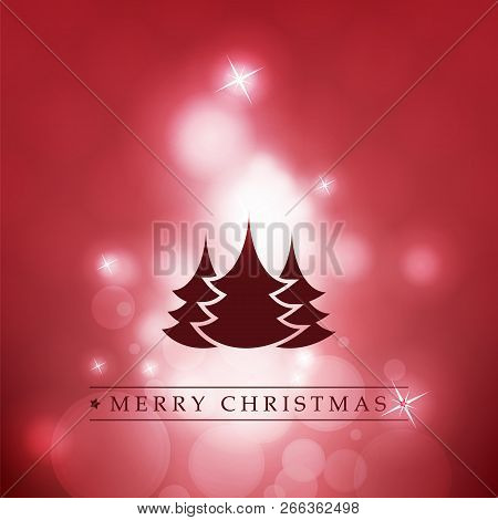 Red And White Modern Style Happy Holidays, Merry Christmas Greeting Card With Label, Christmas Tree